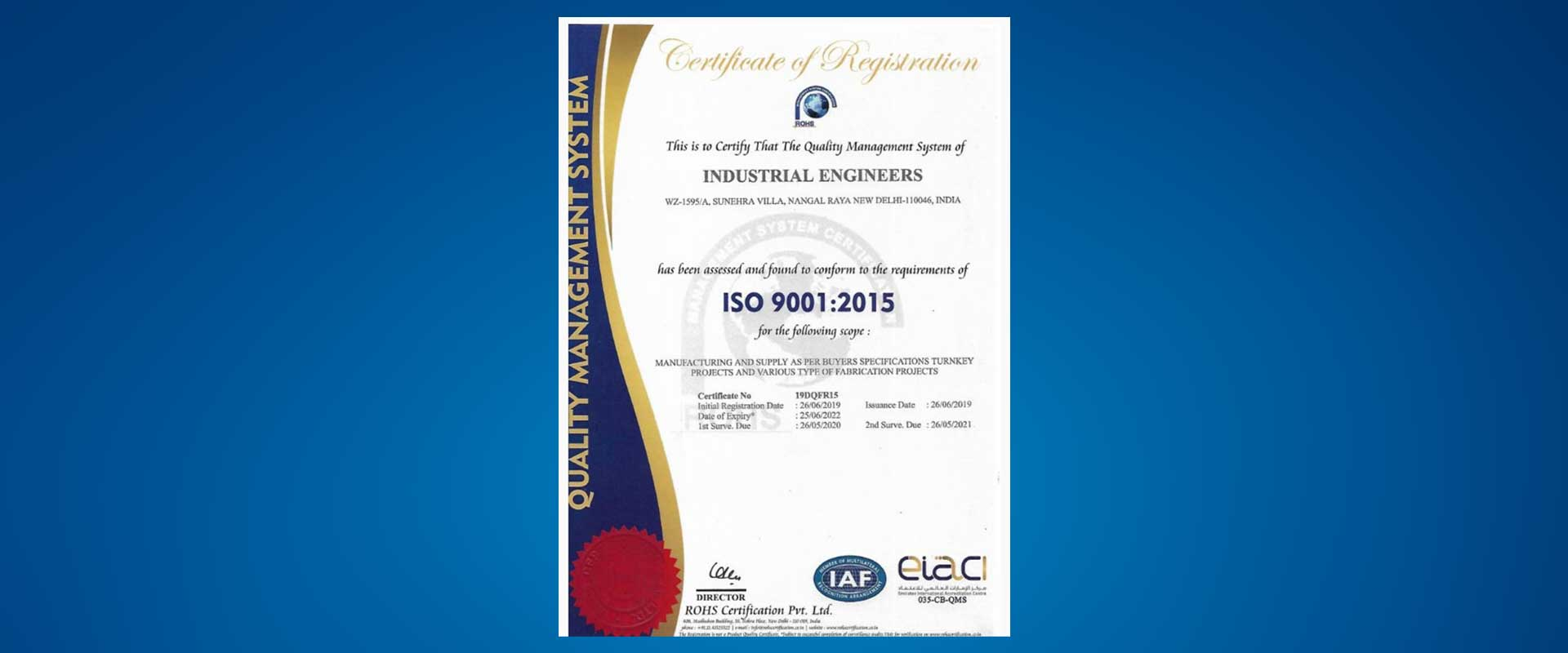 Industrial Engineers Certificate